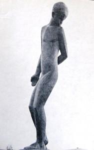 """Скульптор  Дмитрий Рябичев """"Юная"""" дерево В130 см 1964 г."""