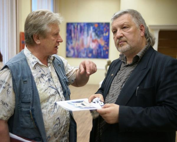 Экспрессионизм в искусстве. Участники выставки в МОСХ скульптор Валерий Кравченко, художник Саулюс Круопис