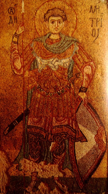 Икона Дмитрий Солунский, около 1113 г., Из Михайловского Златоверхого монастыря в Киеве, мозаика, 222х129