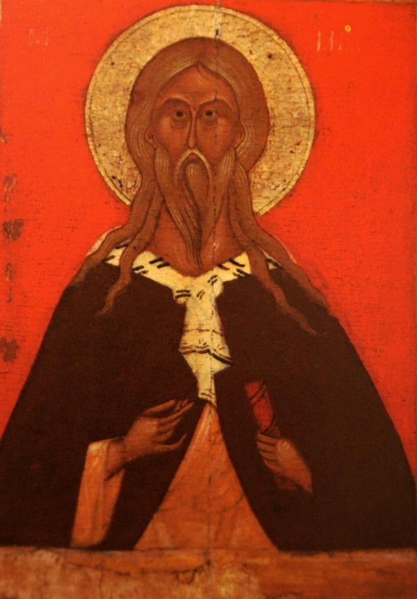 Икона Илья Пророк. 15 век. Новгород. Дерево, паволока, левкас, темпера. 75х57