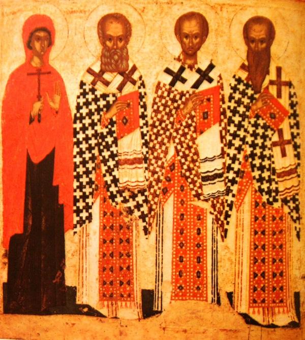 Икона Три святителя и Параскева Пятница. 15 век. Псков. Дерево, паволока, левкас, темпера. 147х134