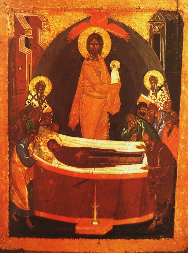 Икона Успение. (Оборот иконы Богоматерь Донская) 1390-ые г. Дерево, паволока, левкас, темпера.