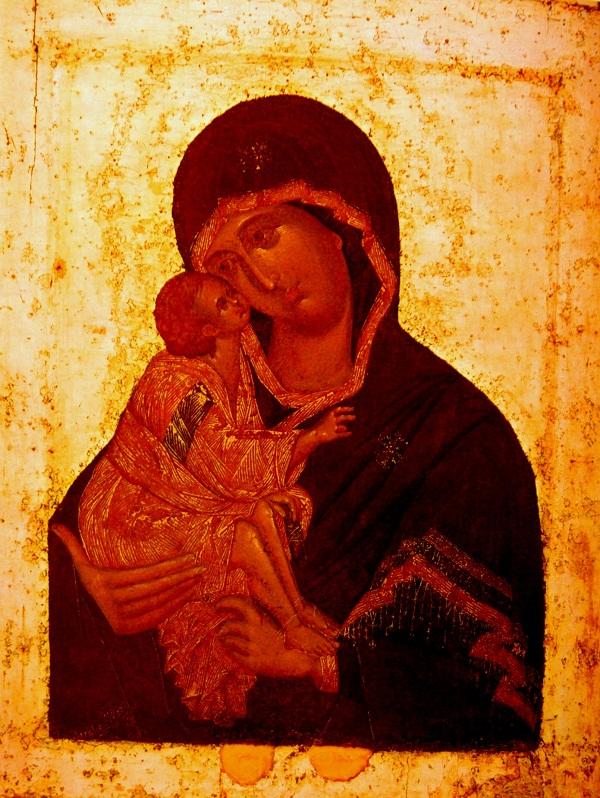 Икона Феофан Грек. Богоматерь Донская. 1390 г. Дерево, паволока, левкас, темпера, 86х67