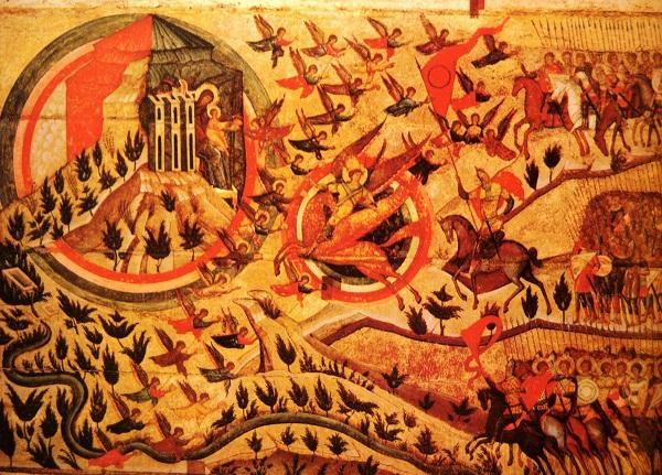 Икона Церковь воинствующая (фрагмент) 1550-ые г. Дерево, паволока, левкас, темпера. 144х396. Поступила в 1919 г. из Национального музейного фонда