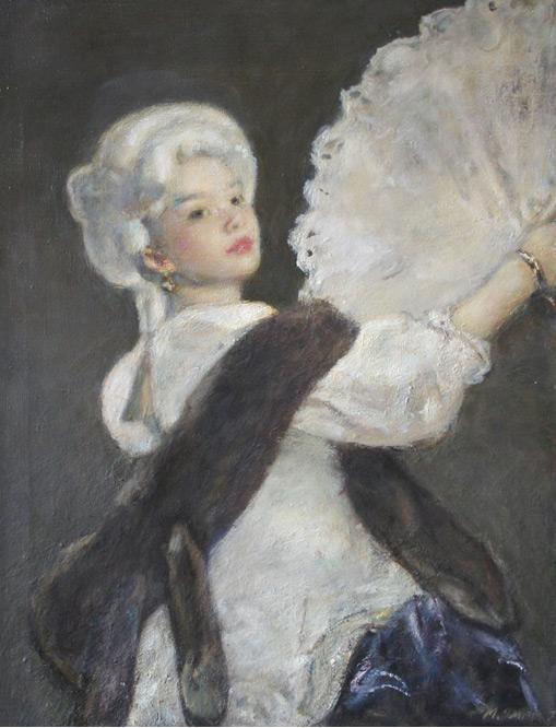 "Михаил Гурвич. ""Женщина с белым веером"".  90х70, холст, масло"