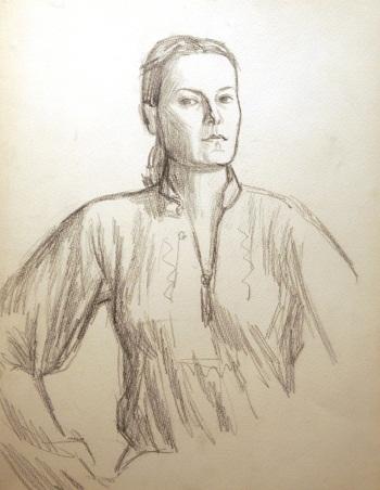 Художник  Наталия Карева Автопортрет.  (набросок) бумага,  карандаш, 1980 г., 44х35