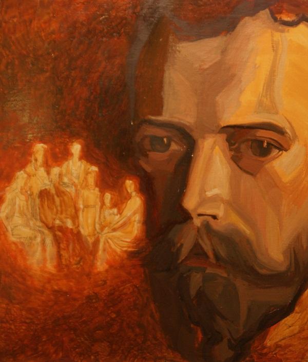 Художник  Наталия Карева Николай II . 2008 г., картон, масло, 48х56