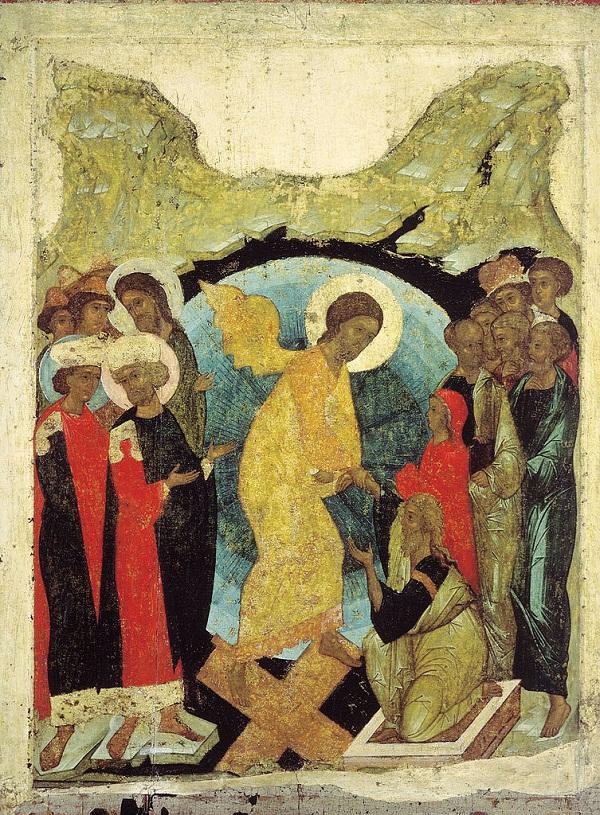 """Андрей Рублев.  Икона """"Сошествие во ад""""  1408-1410 Государственная Третьяковская галерея"""