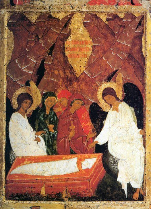 Жены-мироносицы у гроба Господня  (Икона праздничного чина, Вологда) конец XV - нач. в XVI в