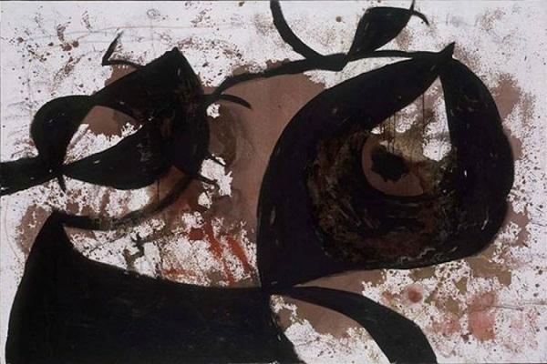 Художник  Хуан Миро, Без названия, 1967 Холст, масло, акрил, восковой карандаш 130 × 195 см