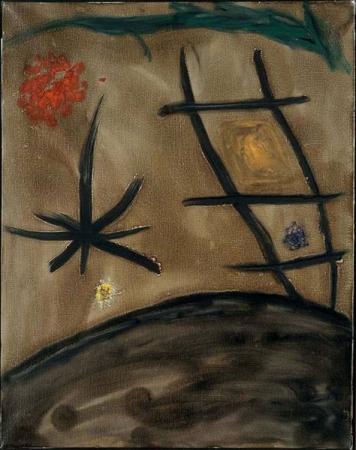 Художник  Хуан Миро Без названия,  Около 1978 Холст, масло. 92×72,5 см