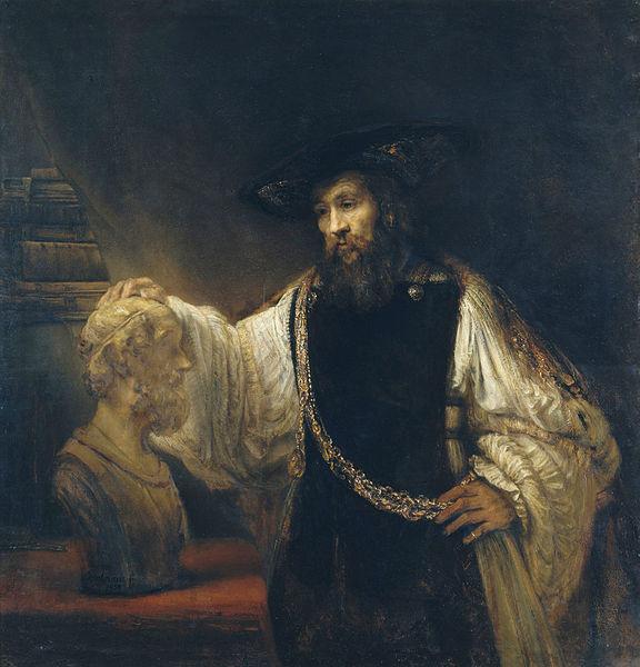 """Рембрандт  """"Аристотель с бюстом Гомера"""" 1653 г., холст, масло. 143,5×136,5 см Метрополитен, Нью-Йорк"""