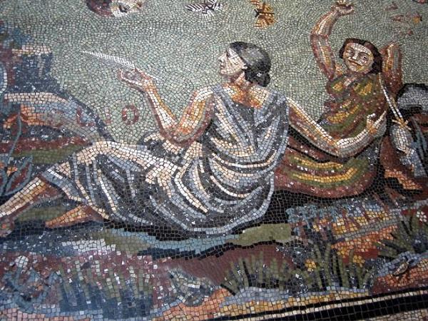 Долгие годы, начиная с середины 20-х, Борис Анреп работал над  мраморными мозаиками  в вестибюле лондонской Национальной галереи.  Эта мозаика должна была состоять из четырех циклов: «Пробуждение муз», «Труды жизни», «Удовольствия жизни» и «Современные добродетели». В медальонах мозаики он воссоздал узнаваемые лица своих современников в виде мифологических и аллегорических фигур. Вирджиния Вулф представлена как Клио — муза истории, Грета Гарбо как Мельпомена — муза трагедии.