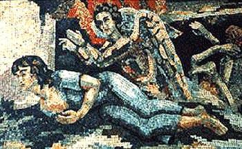 """Все мозаики Бориса Анрепа  в Национальной галерее – аллегорические.   """"Ахматовская"""" мозаика называется """"Сompassion"""" (""""Сострадание"""")."""