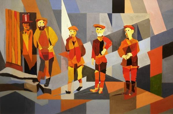 "Художник  Джонатан Люк ""Красные мужчины""  холст, масло  2013 г."