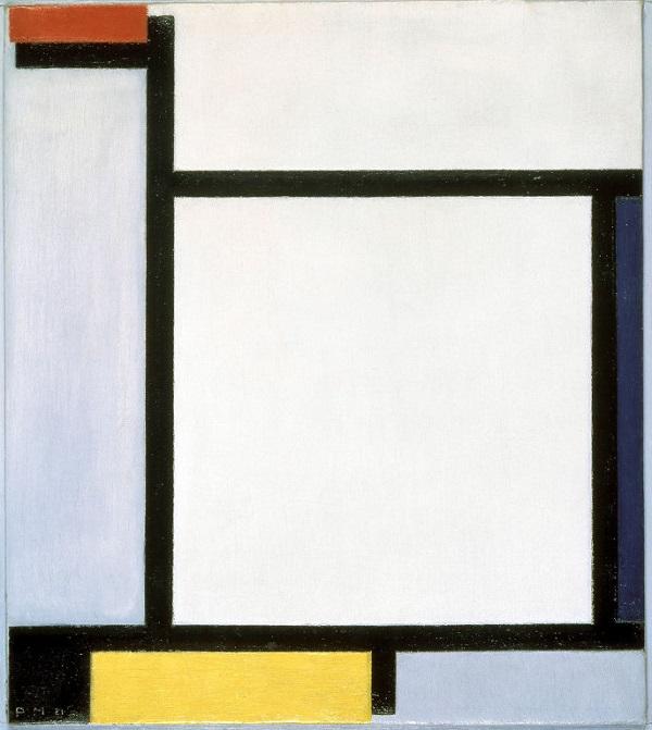 """Художник  Пит Мондриан  """"Композиция с красным, синим, черным, желтым и серым""""  1921г."""
