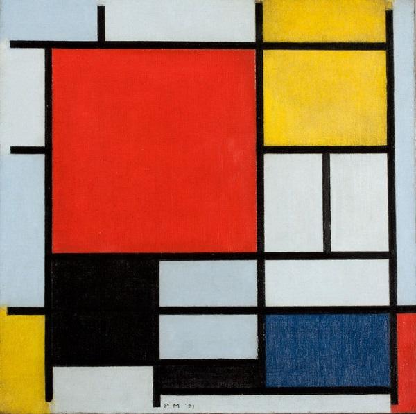 """Художник  Пит Мондриан  """"Композиция с большой красной плоскостью, желтым, черным, серым и синим"""" 1921 г."""