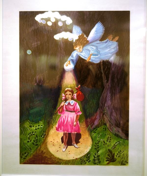 """Художник  Лиза Радченко. """"Мой Ангел-хранитель"""" бумага, английская гуашь, 2012 г."""