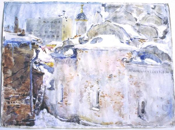 Виктор Орловский Седая старина. Абсиды Рождественского храма  2004 г.  акв. б. бел.  54х74