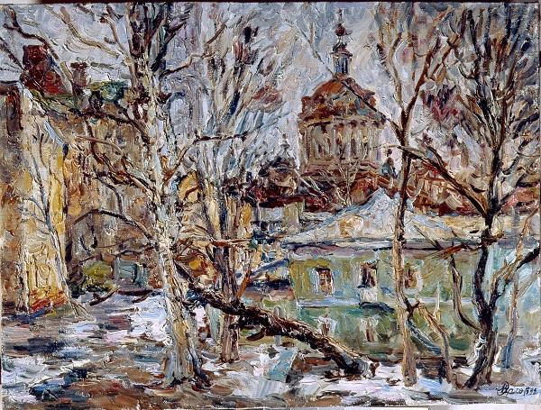 """Виктор Орловский """"Московский дворик"""" 1994г.  х.м. 60х80"""