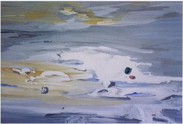 "Виктор Орловский ""Песчаная отмель""  фрагмент 1990 г.   орг. темп.  79х94"