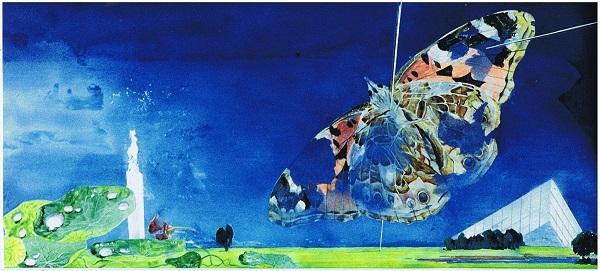 """Виктор Орловский """"Бабочка коллекционера""""  1990г.  акв. б.  40х87"""