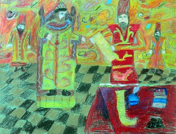 Кристина Ким «Алексей Михайлович и бояре. Чтение приказа»  масляная пастель Преподаватель: Миронова.О Диплом лауреата конкурса