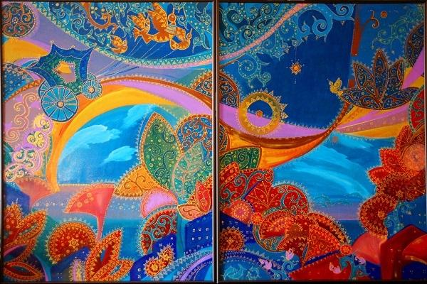 "Александра Загряжская Композиция  ""Зеленая Карета"" акрил,  2014 г. 80х120"