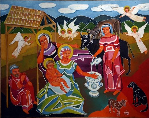 "Картина Маргариты Юрковой  ""Рождество"" 96х120  холст, масло 1996 г."