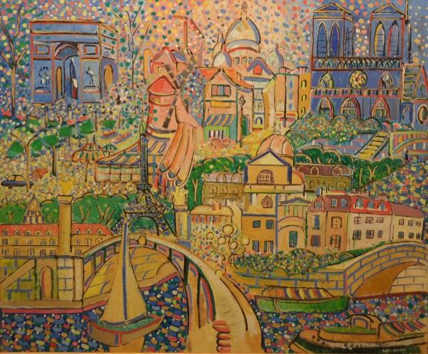 "Художник Габриэль Юон-Эргин ""Феерический Париж"" холст, масло,  2001 г."