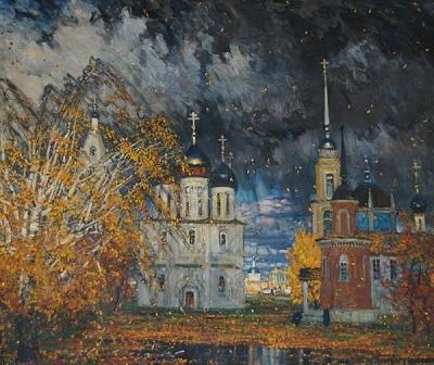 Художник  Михаил Абакумов Идут золотые дожди холст, масло