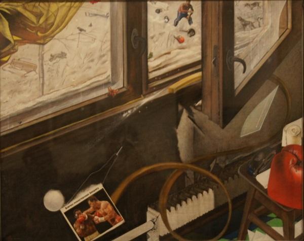 """Ю.В. Григорьев """"Удар Кличко"""" 1999 г.  холст, масло 80х100"""