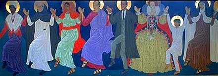"""США. Сан-Франциско. Епископальный (англиканский) храм св.Григория Нисского. Фреска """"танцующие святые"""""""