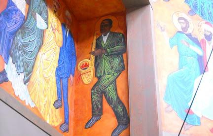 """США. Сан-Франциско. Епископальный (англиканский) храм св.Григория Нисского. Фреска """"танцующие святые"""" Джон Колтрейн"""