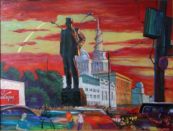 Художник  Г.В.Животов Маяковский и площадь, 2012 г.