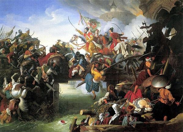"""Художник  Крафт Йоханн Питер.  """"Атака Зрини"""" холст, масло,  1825 г."""