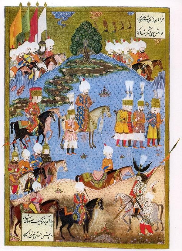 Миниатюра, изображающая Сулеймана Великолепного с армией в походе на Нахичевань, лето, 1554-г.