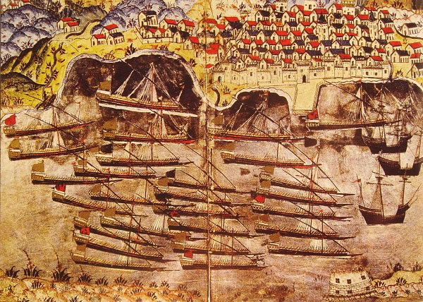 Османский флон на яукоре во французском порту Тулон в 1543 году Насух Матракчи миниатюра