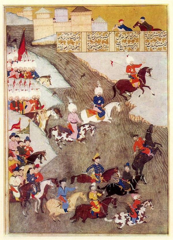 Османская миниатюра, изображающая османские войска и передовой отряд крымских татар в Сигетварской битве,  1566 г.  Последняя битва  Султана Сулеймана Великолепного