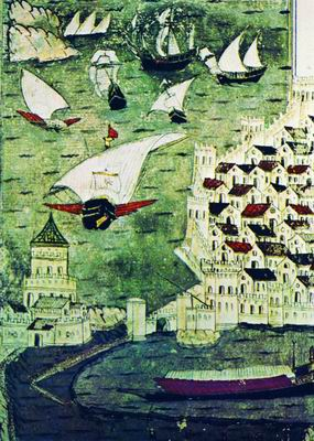 Насух Матракчи Турецкие галеры на Дунае Миниатюра