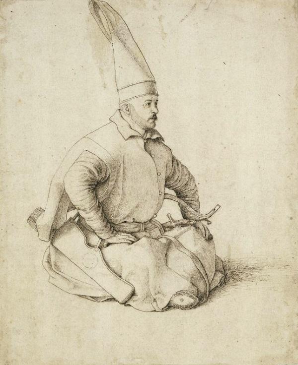 Янычарский офицер.  Рисунок Джентиле Беллини (конец XV в.)
