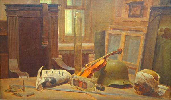 """Картина Евгения Амаспюра """"Сердитый натюрморт длинной в метр"""" холст, масло 1995 г."""