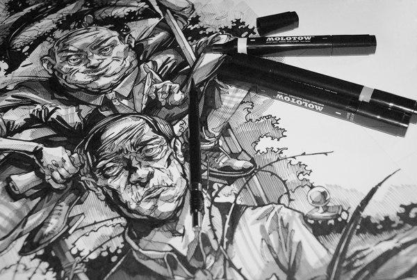 Художник  Виктор Гаус автор перфоманса  на Illustration Day художник-иллюстратор Сноб