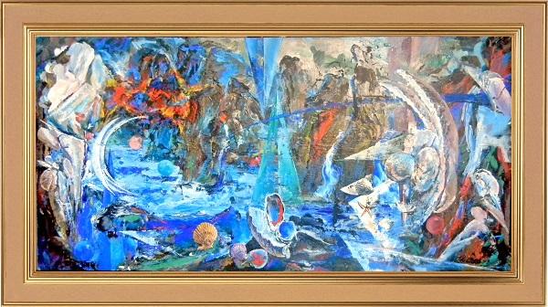 """Виктор Орловский """"Сад Камней""""  1993 г. х., смеш.техн. 60 х 120"""
