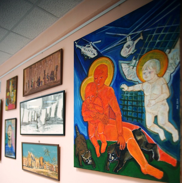 """Библиотека № 134.  Культурный центр  Федора Петровича Гааза. Выставка художников из разных стран """"С любовью к миру"""""""