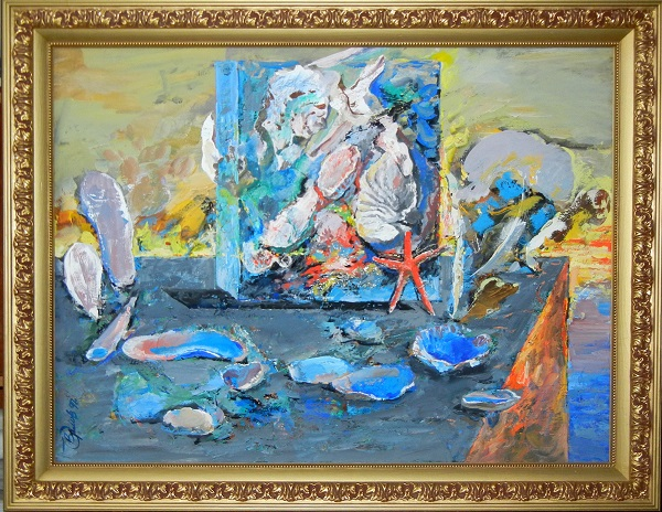 "В.Ф.Орловский  ""Пейзаж с морской звездой"" 1997 г.,  орг., смеш. техн.  60 х 80"