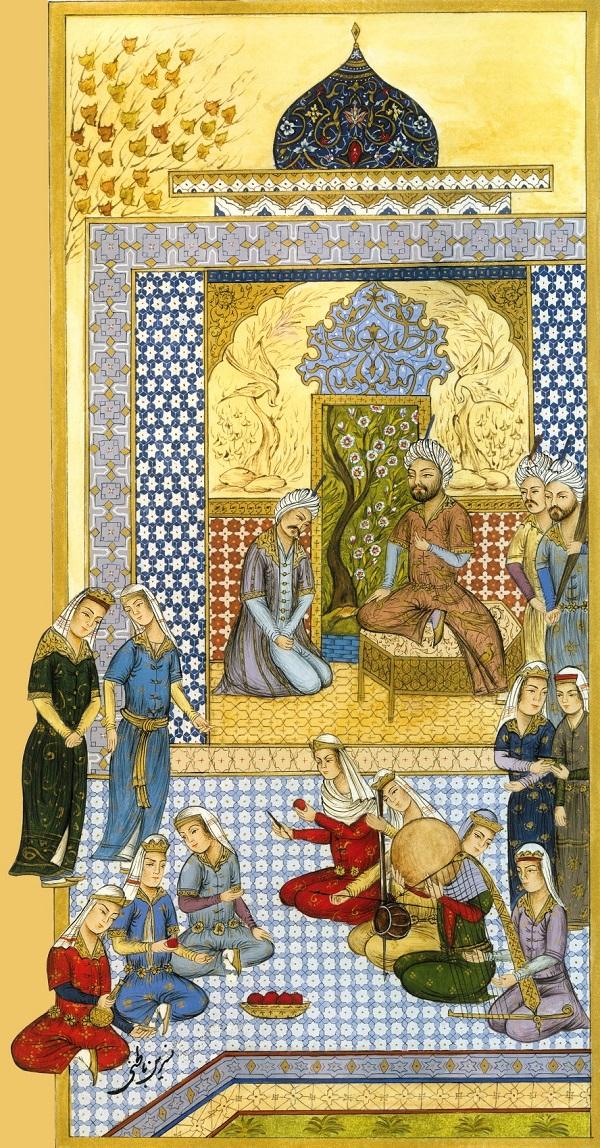 Художник  Насрин Батени Спор Хосрова и Фархада Иллюстрация к поэме Низами Ганджави