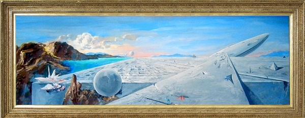 """В.Ф.Орловский """"Пейзаж с затерянным плато"""" 2013 г., х. темп. 50 х 150 см."""