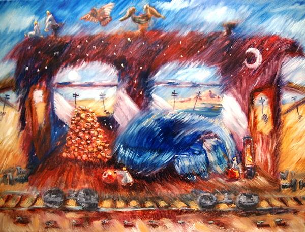 "Роман Рахматулин  ""Синий пес спит в пути"" 67х49 масло, холст 2014 г."
