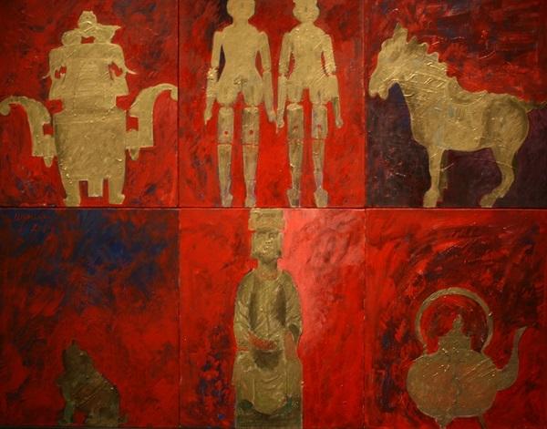 "Н.И. Шумаков ""Китай""  2014г. х. м полиптих  50х60    6 частей"
